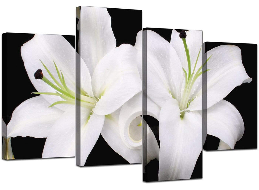 Set Of 4 Living-Room Black White Canvas Picture