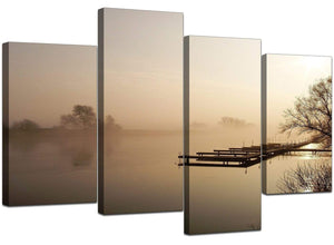 Set Of Four Modern Brown Canvas Art