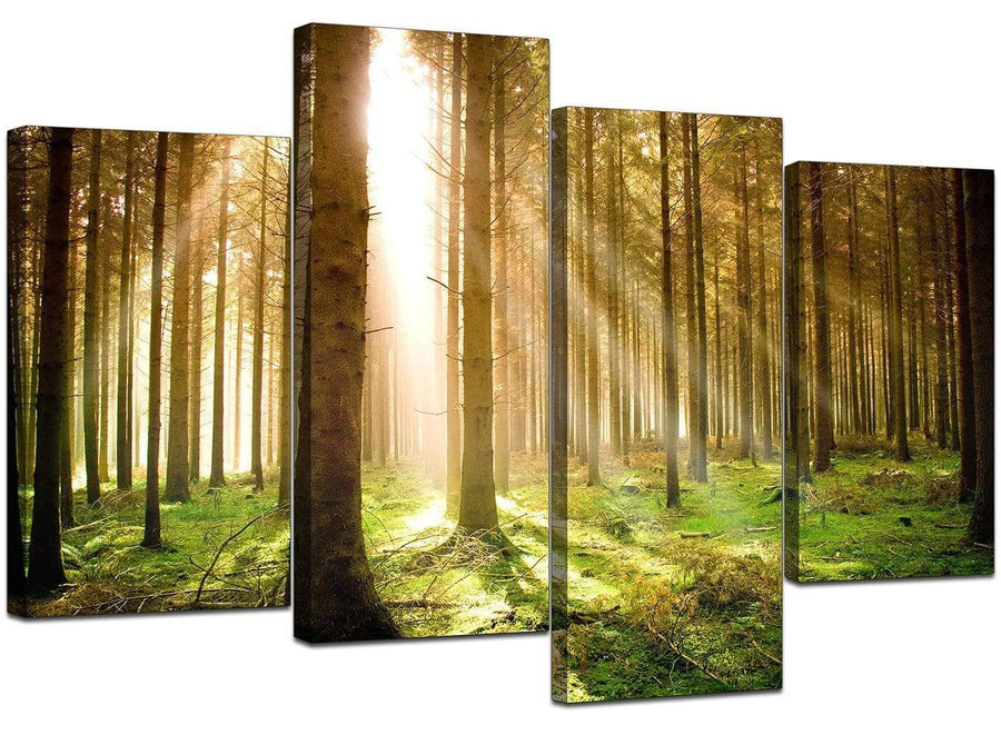 4 Panel Set of Living-Room Green Canvas Wall Art