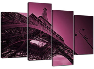 Set Of Four Living-Room Plum Canvas Wall Art