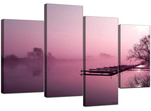 Four Panel Set of Living-Room Plum Canvas Pictures