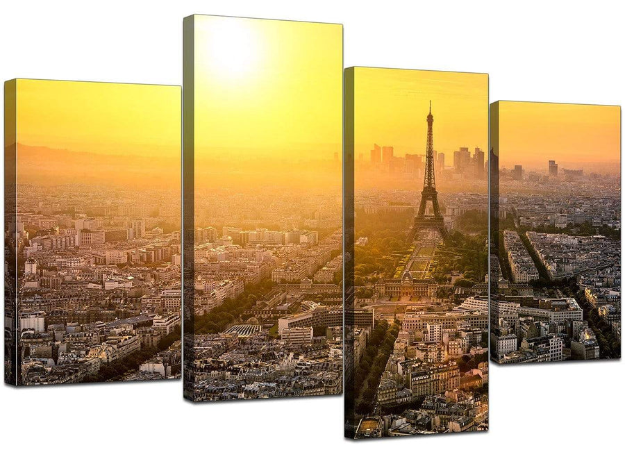 Set Of Four Living-Room Yellow Canvas Art