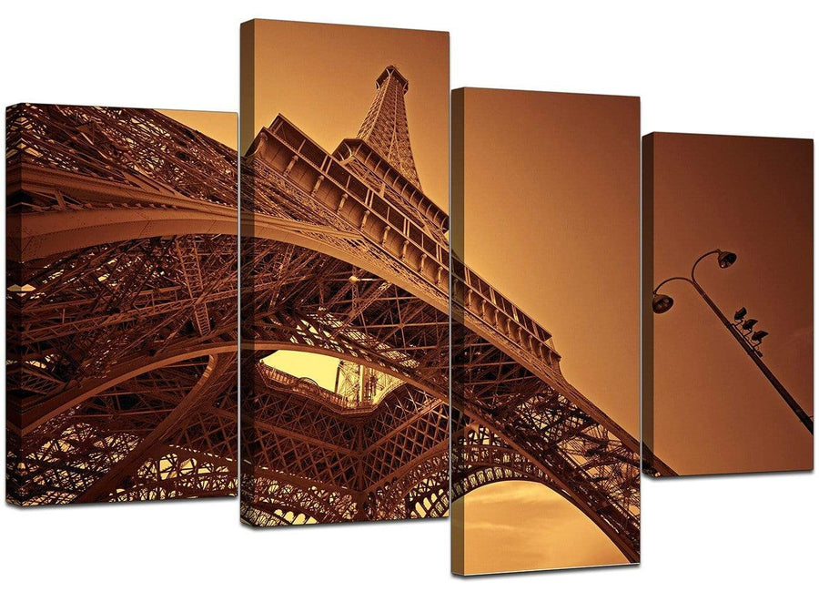 Set Of Four Extra-Large Brown Canvas Art