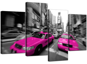 Set Of 4 Living-Room Pink Canvas Art