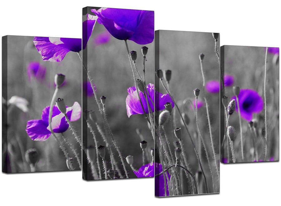 Set Of 4 Extra-Large Purple Canvas Art