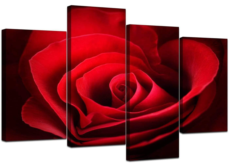 4 Piece Set of Living-Room Red Canvas Wall Art