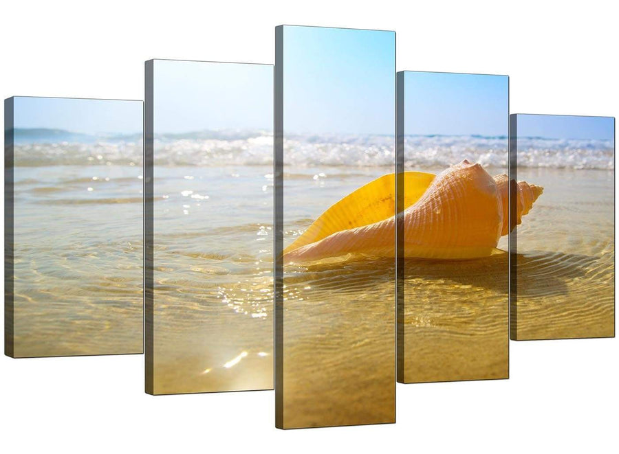 5 Panel Set of Modern Blue Canvas Pictures