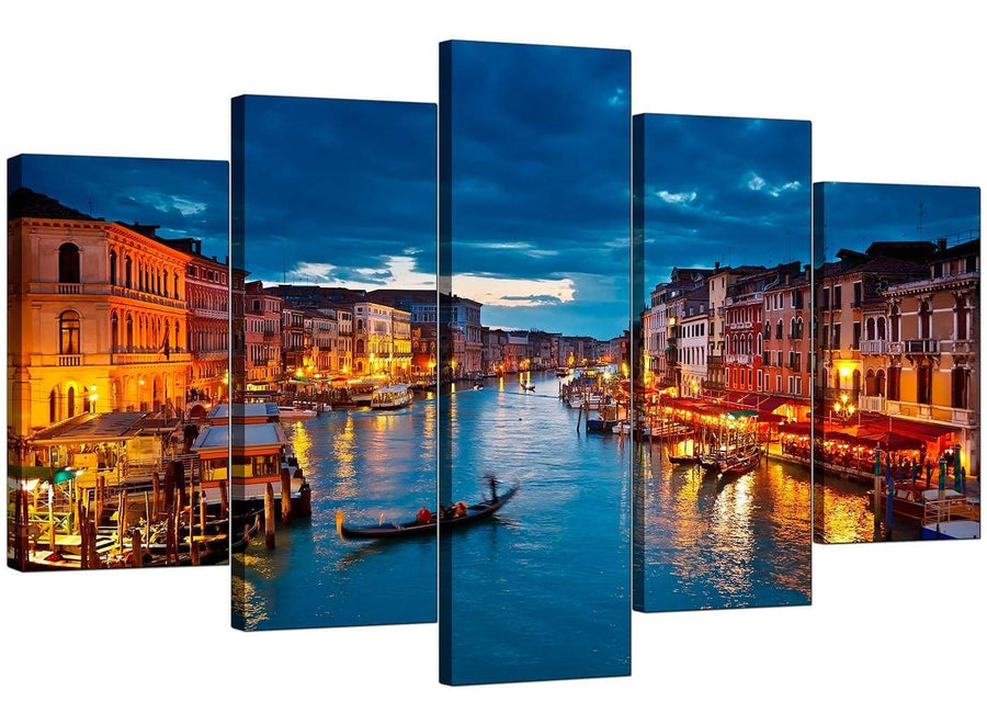 5 Piece Set of Living-Room Blue Canvas Pictures