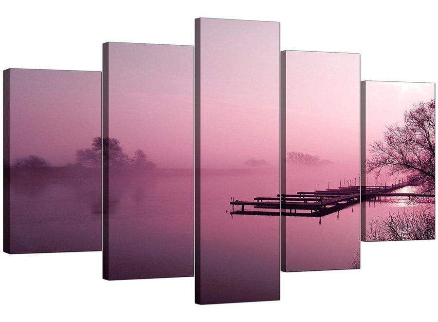 Set Of Five Cheap Plum Canvas Wall Art
