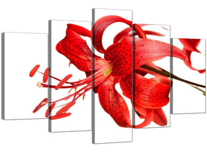 Set Of Five Extra-Large Red Canvas Wall Art