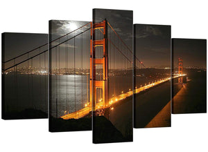 Set Of Five Living-Room Black White Canvas Pictures