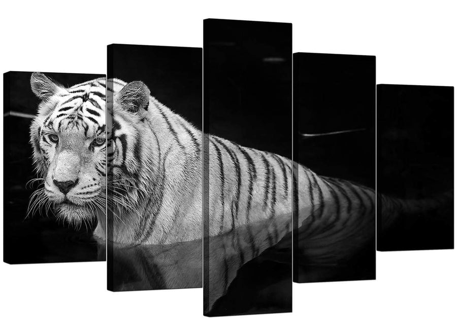 Five Part Set of Extra-Large Black White Canvas Prints