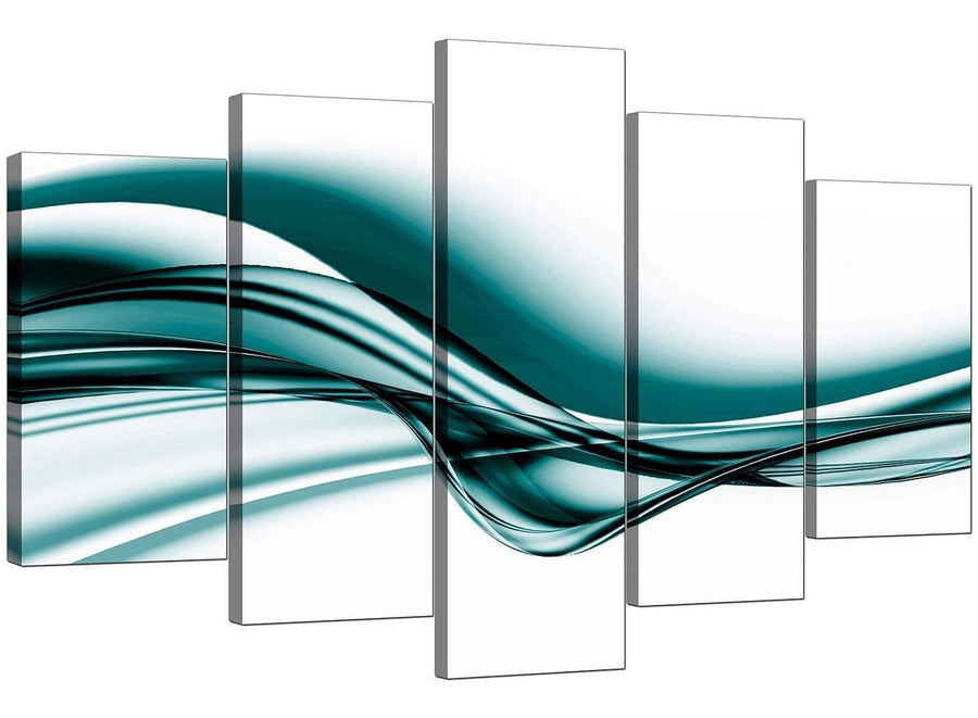 5 Piece Set of Living-Room Teal Canvas Prints