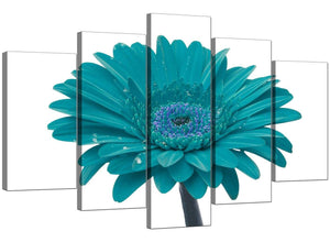 Set Of Five Cheap Teal Canvas Prints