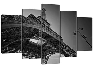 Set Of Five Living-Room Black White Canvas Art