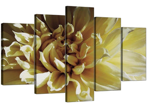 5 Piece Set of Extra-Large Cream Canvas Prints