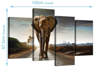 Cheap African Elephant Canvas Prints UK 130cm x 68cm 4209