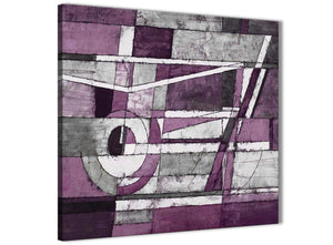 Cheap Aubergine Grey White Painting Bathroom Canvas Wall Art Accessories - Abstract 1s406s - 49cm Square Print