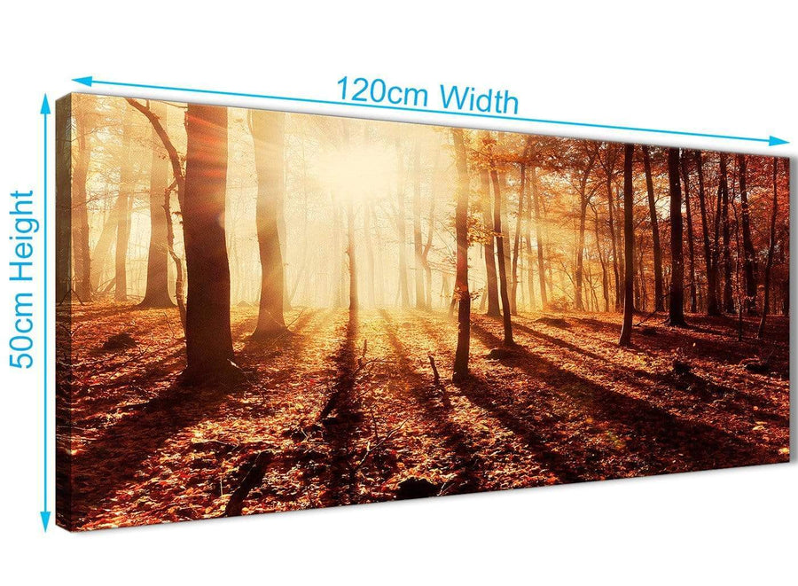Cheap Autumn Leaves Forest Scenic Landscapes Canvas Art Pictures - Trees - 1386 Orange - 120cm Wide Print