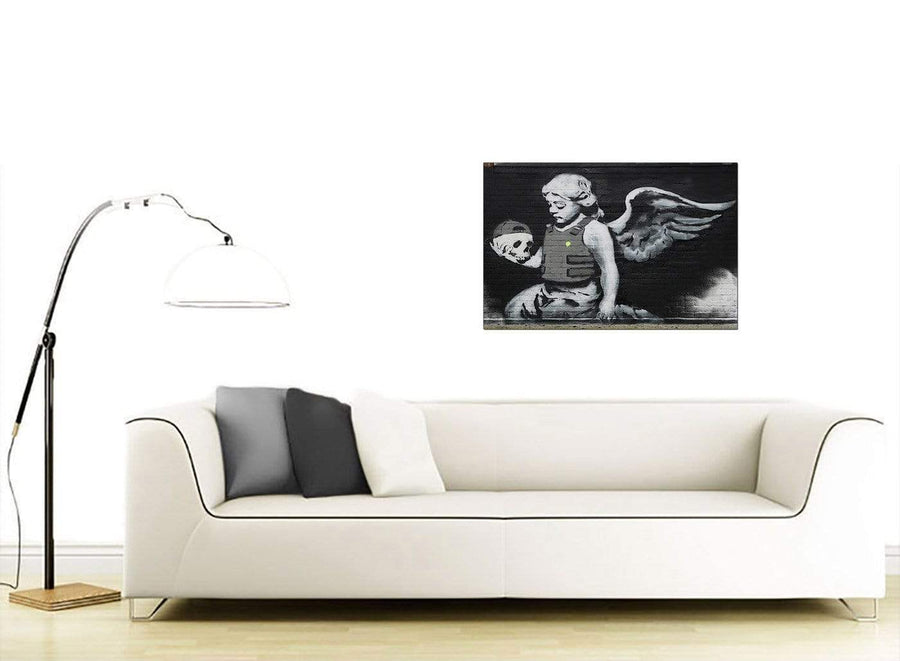 Banksy Canvas Wall Art - Ozones Angel Black and White