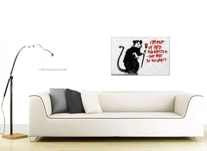 Banksy Canvases - Rat with a Paintbrush Im Out of Bed