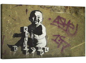 Banksy Canvas Pictures - Kill People Baby With Building Blocks - Urban Art
