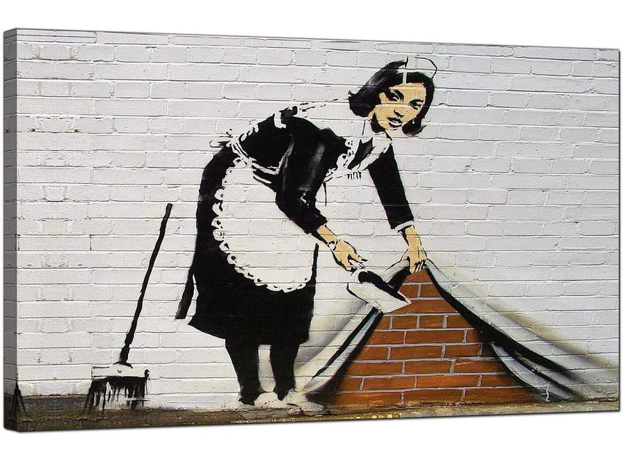 Banksy Canvas Pictures - Maid Sweeping Stuff Under The Carpet Wall - Urban Art