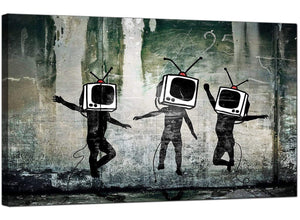 Banksy Canvas Pictures - People with Television Heads - Urban Art