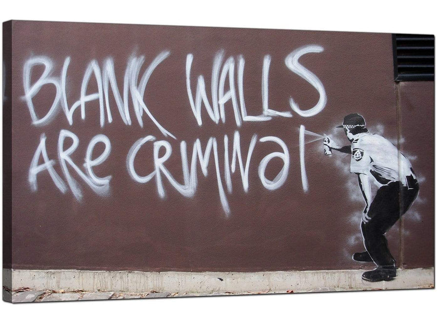 Banksy Canvas Pictures - Policeman Spraying Blank Walls are Criminal Graffiti - Urban Art