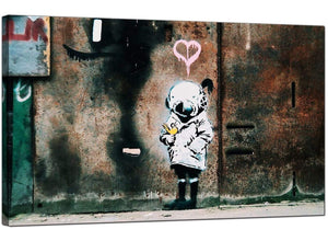 Banksy Canvas Pictures - Space Girl With Bird - Urban Art