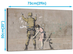Banksy Canvas Art Prints - Girl Child Frisks a Soldier - Graffiti Art