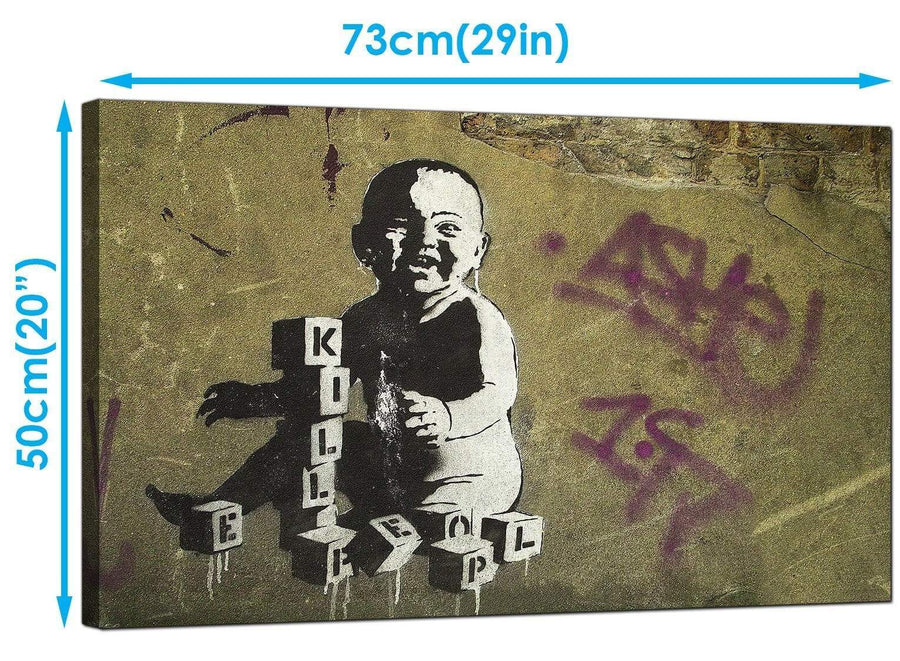 Banksy Canvas Art Prints - Kill People Baby With Building Blocks - Graffiti Art