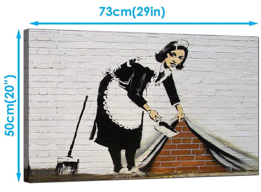 Banksy Canvas Art Prints - Maid Sweeping Stuff Under The Carpet Wall - Graffiti Art