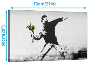 Banksy Canvas Art Prints - Rage Man Throwing Flowers - Graffiti Art