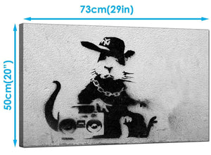 Banksy Canvas Art Prints - Rat Wearing a Baseball Cap with a Boombox Stereo - Graffiti Art