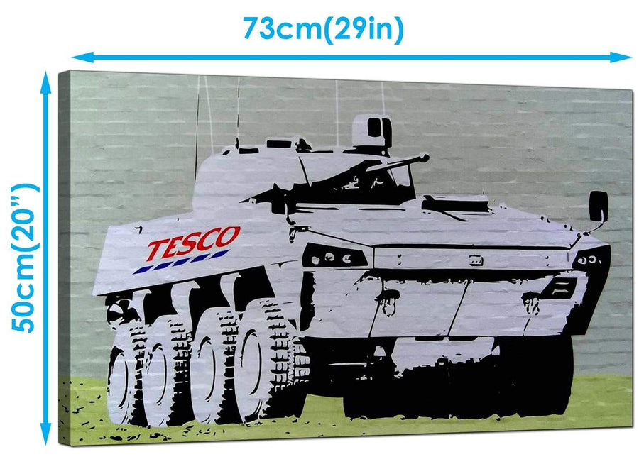 Banksy Canvas Art Prints - Tesco Tank Eight Wheel Armoured Car - Graffiti Art