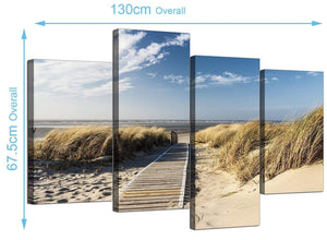 Large Beach Dunes Canvas Prints 130cm x 68cm 4197