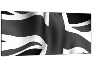 Black-White Cheap Panoramic Canvas of Union Jack Flag