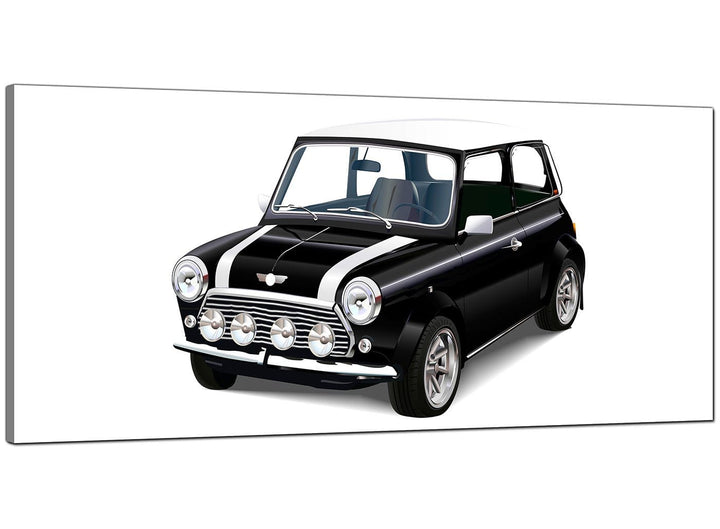 Black-White Living Room Panoramic Canvas of Mini Cooper