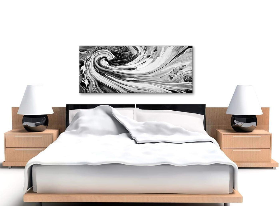 Cheap Black White Grey Swirls Modern Abstract Canvas Wall Art Modern 120cm Wide 1354 For Your Dining Room