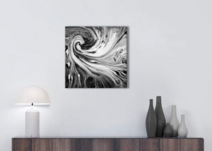 Cheap Black White Grey Swirls Modern Abstract Canvas Wall Art Modern 49cm Square 1S354S For Your Kitchen