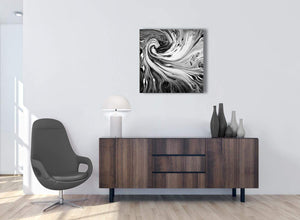 Cheap Black White Grey Swirls Modern Abstract Canvas Wall Art Modern 64cm Square 1S354M For Your Living Room