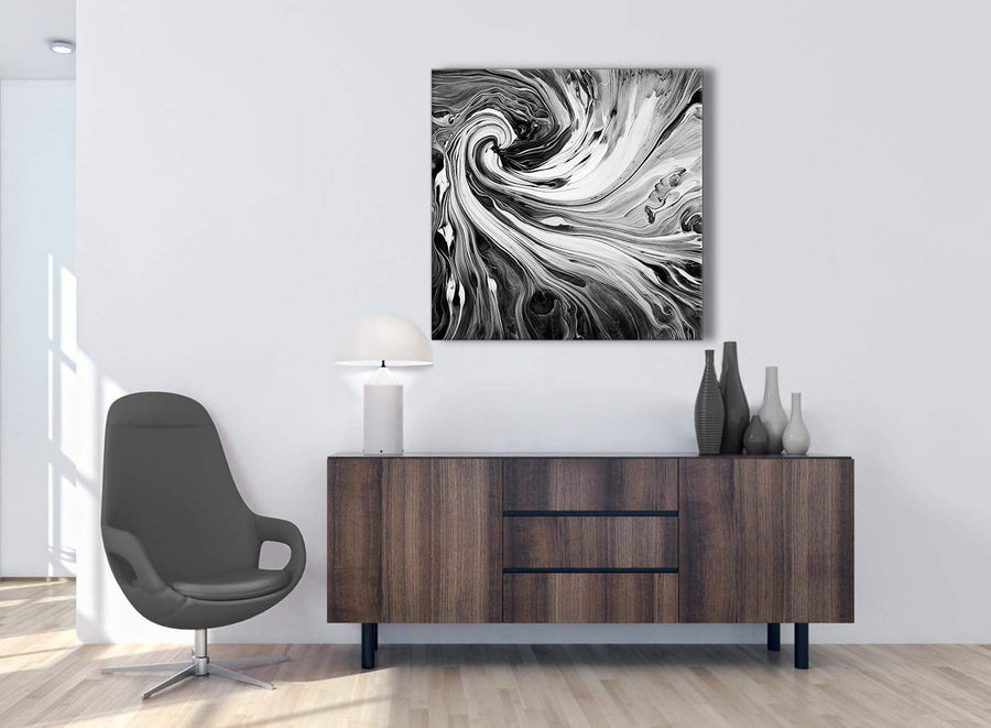 Cheap Black White Grey Swirls Modern Abstract Canvas Wall Art Modern 79cm Square 1S354L For Your Kitchen