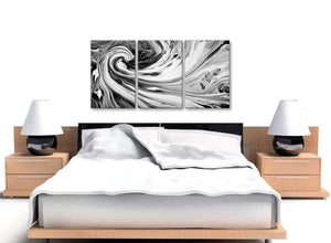 Cheap Black White Grey Swirls Modern Abstract Canvas Wall Art Split 3 Part 125cm Wide 3354 For Your Living Room