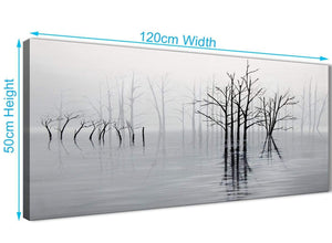 Cheap Black White Grey Tree Landscape Painting Living Room Canvas Wall Art Accessories - 1416 - 120cm Print