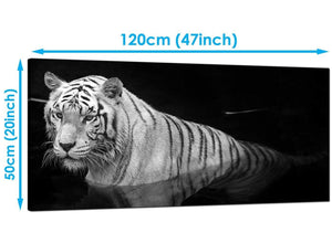 Living-Room Black White Extra Large Canvas of Tiger