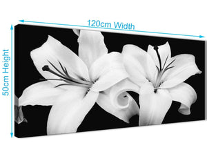 Cheap Black White Lily Flower Living Room Canvas Wall Art Accessories - 1458 - 120cm Print