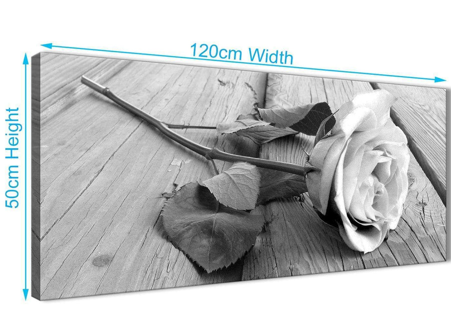 Cheap Black White Rose Floral Bedroom Canvas Pictures Accessories - 1372 - 120cm Print