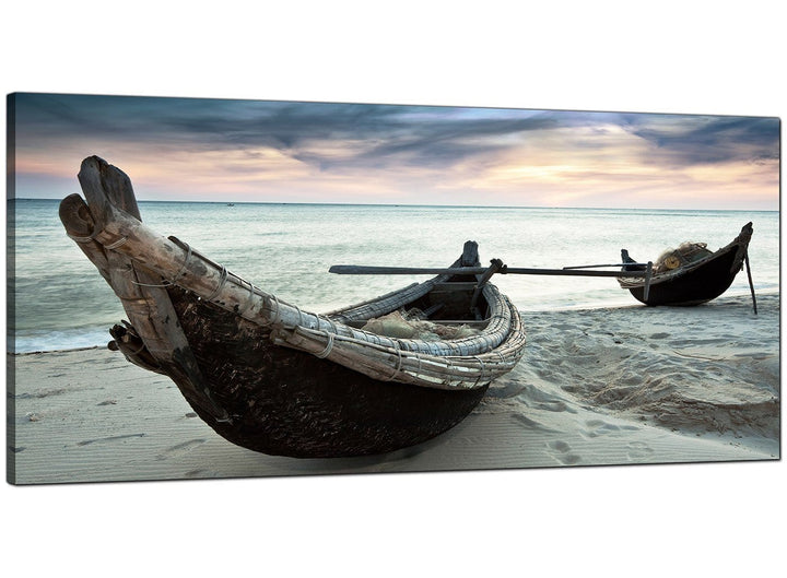 Blue Bedroom Panoramic Canvas of Beach Thailand Boats