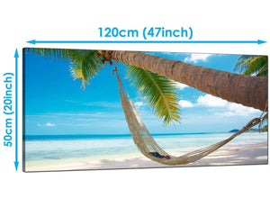 Bedroom Blue Panoramic Canvas of Beach